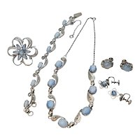 Vintage Alice Caviness Moonstone Filigree Sterling Silver 925 Five Piece Set