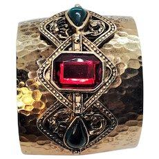 Vintage Costume Gold Tone Hammered Metal Wide Embellished Glass Cabochon Bracelet