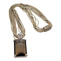 Vintage Smokey Glass Pendant On Seven Layered Chain Embossed Magnet Closure