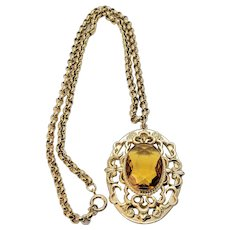 Vintage Oval Citrine Glass Cabochon Embellished Pendant Rolo Chain Necklace