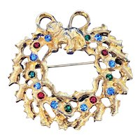 Vintage Christmas Wreath With Bull Dog Rhinestone And Bow