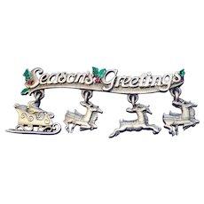 Vintage Season's Greetings J.J. Santa Dangles And Reindeer Brooch