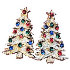 Vintage Christmas Tree Clip On Earrings With Fire Polished Rhinestones