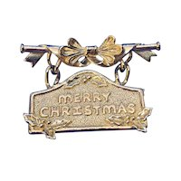 Vintage Brass Merry Christmas Embossed Dangle Brooch AJC