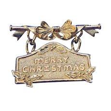 Vintage Brass Merry Christmas Embossed Dangle Brooch AJC