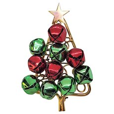 Vintage Christmas Tree Pin Jingle Bells Red And Green