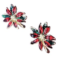 Vintage Poinsettia Enamel Christmas Earrings