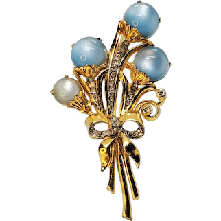 Vintage Blue and White Moonglow Cabochon's Rhinestone Flower Brooch