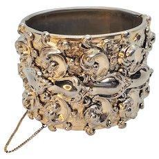 Vintage Vargas Repousse Gold Tone Large Hinged Bracelet