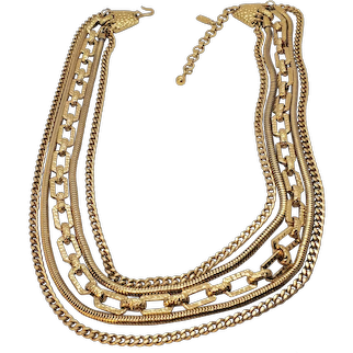 Vintage Gold Tone Monet 5 Chain Layer Necklace with  Hang Tag