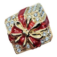 Vintage Monet Christmas Package Bow And Rhinestones Pin