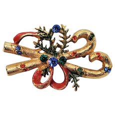Vintage Christmas Candy Cane Bow And Rhinestones Pin