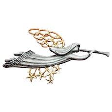 Vintage Christmas Pin Angel Blowing Horn