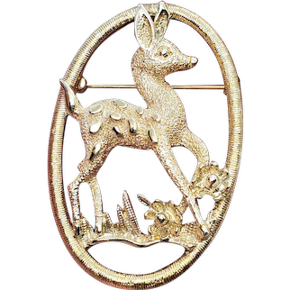 Vintage Sarah Coventry Little Deer Holiday Pin