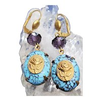 Vintage Brass And Glass Turquoise Cabochon Rose Dangle Earrings