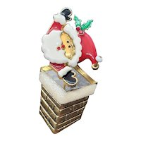 Vintage Santa Pin Shaking Moving Head Coming Up Chimney signed TC