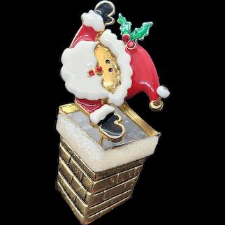 Vintage Santa Pin Shaking Moving Head Coming Up Chimney signed TC