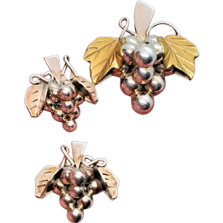 Taxco Mexico Grapes Pin Pendant and Pierced Earrings Sterling Silver Set