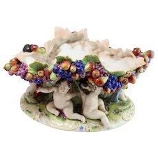 Antique Italy Capodimonte Centerpiece Bowl w/ Colorful Fruit, Cupids 1880-1905