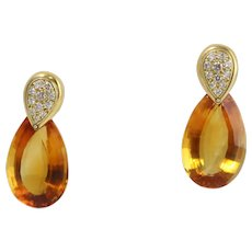 Fine 18k Yellow Gold Stunning Large Citrine Pear Drop Earrings