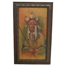 "Robert Saporito ""Two Moons"" Oil on Burlap Painting of Native American Man"