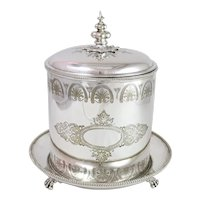 Antique English 1875 Silver Plated Biscuit Box w. Hinged Lid