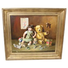 Raymond Hoeck (1922-1992) Vintage Still Life Painting of Children's Toys