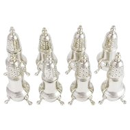 Fine 8 Piece Set Footed Sterling Silver Salt and Pepper Shakers