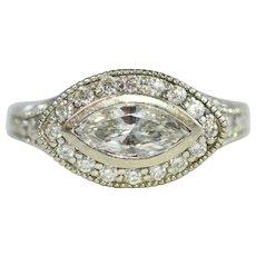 14k White Gold Marquise Art Deco Diamond Ring