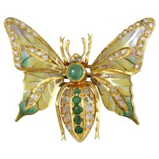 Fine Vintage 18k Yellow Gold Enameled Diamond & Emerald Moth Brooch