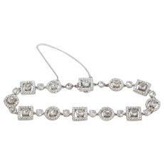 Vintage Stunning 18k White Gold Diamond Encrusted Tennis Bracelet