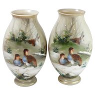 Pair of Vintage Green Milk Hand-Painted Glass Vases w Bird Motif