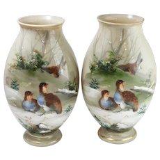 Pair of Vintage Green Milk Hand-Painted Glass Vases w Bird Motif