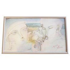 Zofia Mosiadz Framed Pencil and Watercolor Artwork Figural w/ Instruments
