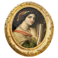 19th Century Antique Glass Reverse Oval Painting of a Young Woman