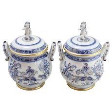 Antique 19th Century Royal Berlin Cache Pots Blue & Gold w/ Cherubs
