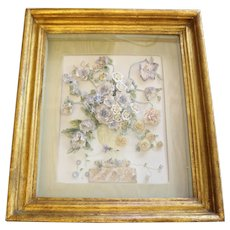 Stunning 19th Century Bisque German Porcelain Floral Plaque in Shadow Box