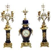Antique Porcelain Mantle Clock w/ Candelabras Cobalt Blue & Gold Bronze Ormolu
