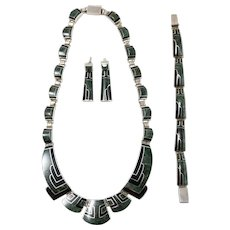 Oscar Figueroa Original Handcrafted Necklace, Bracelet, Earrings Set in Onyx and Malachite