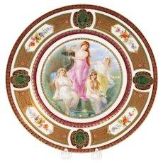 Vintage Royal Schwarzburg Germany Hand-Painted Plate w/ Beautiful Women