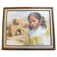 "John G. Naylor Original Framed Oil on Canvas ""Taos Child"""
