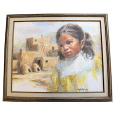 "John G. Naylor Original Framed Oil on Canvas ""Taos Child"""