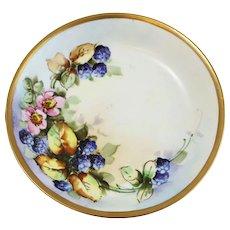 Vintage Austria Porcelain Fruit Bowl, Hand-Painted Blackberries