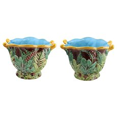 Pair of Early Majolica Art Pottery Vases, Leafy Motif in Blue and Green