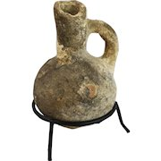"""Ancient Small Pottery Jug w/ Display Stand, 4"""""""