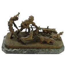 Fine Bronze Sculpture of Boys Walking Dogs w/ Marble Base
