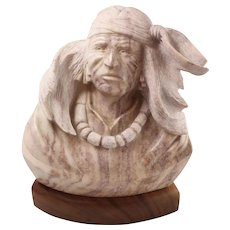 Beautiful Vandu Hard Stone Carving of Native American
