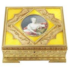 Antique Gold Bronze w/ Enamel & Hand-Painted Portrait Jewelry Box