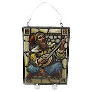 Vintage Reverse Painted Glass Artwork of Bard in Metal Frame