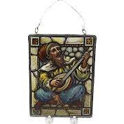 Vintage Reverse Painted Glass Artwork of Bard in Metal Frame